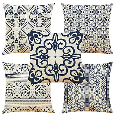 cheap Decorative Pillows-Cushion Cover 5PC Linen Soft Decorative Square Throw Pillow Cover Cushion Case Pillowcase for Sofa Bedroom 45 x 45 cm (18 x 18 Inch) Superior Quality Mashine Washable