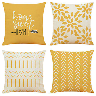 cheap Cushion Covers-Cushion Cover 4PC Linen Soft Decorative Square Throw Pillow Cover Cushion Case Pillowcase for Sofa Bedroom Superior Quality