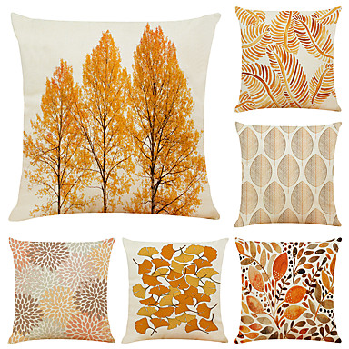 cheap Decorative Pillows-Cushion Cover 6PC Linen Soft Decorative Square Throw Pillow Cover Cushion Case Pillowcase for Sofa Bedroom 45 x 45 cm (18 x 18 Inch) Superior Quality Mashine Washable