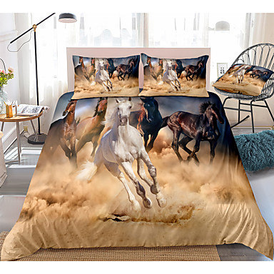cheap Duvet Covers-3D Horse Print 3-Piece Duvet Cover Set Hotel Bedding Sets Comforter Cover with Soft Lightweight Microfiber(Include 1 Duvet Cover and 1or 2 Pillowcases)