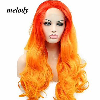 cheap Synthetic Lace Wigs-melody wig orange ombre synthetic lace front wigs red orange body wave free part 180% density half hand tied heat resistant fiber hair for women 24""