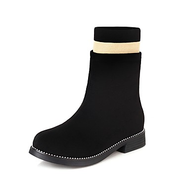 cheap New Arrivals-Girls' Boots Princess Shoes Suede Sock Boots Big Kids(7years +) Split Joint Black Fall / Winter / Mid-Calf Boots / Party & Evening / Striped / Color Block