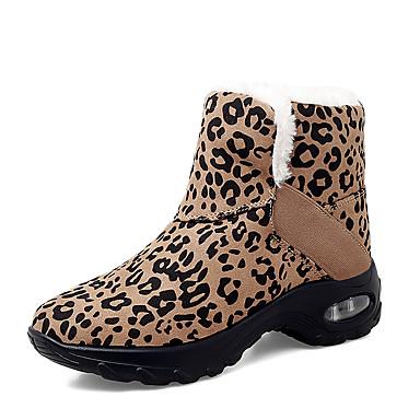 billiga Damskor-Dam Stövlar Kilklack Rundtå Ledigt Minimalism Dagligen Utomhus Leopard Imitationsläder Promenad Swingskor Vin / Svart / röd / Leopard