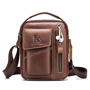 cheap Men's Bags-Crossbody Bag Men's Cowhide Zipper Daily Office & Career Dark Brown Black Coffee
