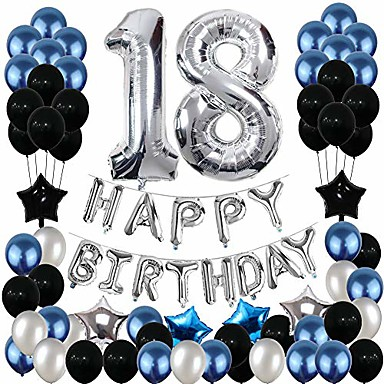 cheap Balloons-18th birthday decorations, 18th birthday party pack 18th birthday gifts include silver number 18 balloons suitable for girls boys women men(80 pack party supplies)
