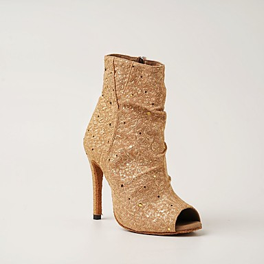 cheap New Arrivals-Women's Latin Shoes Boots Slim High Heel Glitter Crystal / Rhinestone Light Yellow / Black / Dark Red