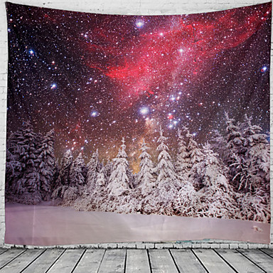 cheap Wall Tapestries-Christmas Santa Claus Holiday Party Wall Tapestry Art Decor Blanket Curtain Picnic Tablecloth Hanging Home Bedroom Living Room Dorm Decoration Christmas Tree Snowing Night Starry Sky