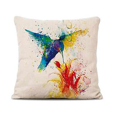 cheap Decorative Pillows-Cushion Cover 1PC Linen Soft Decorative Square Throw Pillow Cover Cushion Case Pillowcase for Sofa Bedroom 45 x 45 cm (18 x 18 Inch) Superior Quality Mashine Washable Birds Pattern