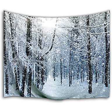 cheap Wall Tapestries-Wall Tapestry Art Decor Blanket Curtain Picnic Tablecloth Hanging Home Bedroom Living Room Dorm Decoration White Forest Polyester Snow Views