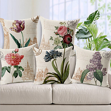 cheap Decorative Pillows-Cushion Cover 5PCS Linen Soft Decorative Square Throw Pillow Cover Cushion Case Pillowcase for Sofa Bedroom 45 x 45 cm (18 x 18 Inch) Superior Quality Mashine Washable Beauty Flowers Pattern