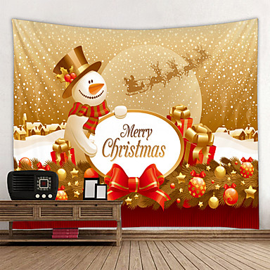 cheap Wall Tapestries-Christmas Santa Claus Holiday Party Wall Tapestry Art Decor Blanket Curtain Picnic Tablecloth Hanging Home Bedroom Living Room Dorm Decoration Christmas Gift Snowman Letter Polyester Beauty Views