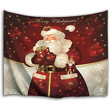 cheap Wall Tapestries-Christmas Santa Claus Holiday Party Wall Tapestry Art Decor Blanket Curtain Picnic Tablecloth Hanging Home Bedroom Living Room Dorm Decoration Christmas Gift Snowflake Polyester View