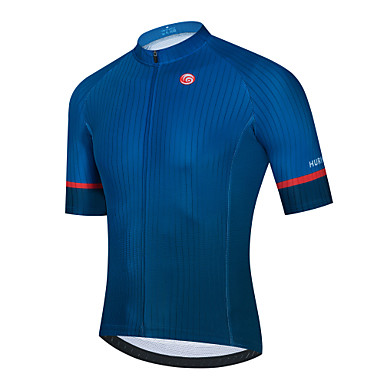 cheap Cycling Jerseys-21Grams Men's Short Sleeve Cycling Jersey Dark Blue Solid Color Bike Jersey Top Mountain Bike MTB Road Bike Cycling Breathable Quick Dry Sports Clothing Apparel / Stretchy / Athletic
