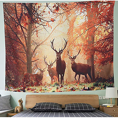 cheap Wall Tapestries-Wall Tapestry Art Decor Blanket Curtain Picnic Tablecloth Hanging Home Bedroom Living Room Dorm Decoration Polyester Forest Deer Pattern