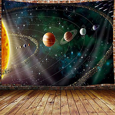 """cheap Landscape Tapestries-outer space planets tapestry for men, universe galaxy tapestry wall hanging for bedroom, trippy tapestry beach blanket college dorm home decor (71"""" w x 60"""" h)"""