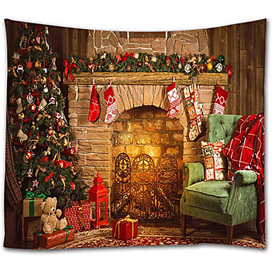 cheap Wall Tapestries-Christmas Santa Claus Holiday Party Wall Tapestry Art Decor Blanket Curtain Picnic Tablecloth Hanging Home Bedroom Living Room Dorm Decoration Christmas Tree Fireplace Gift Polyester View