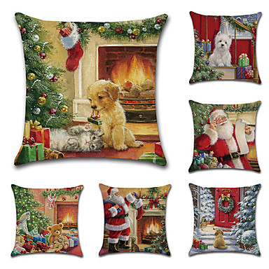 cheap Pillow Covers-Cushion Cover 6PCS Christamas Party Decoration Christamas Gift Linen Soft Decorative Square Throw Pillow Cover Cushion Case Pillowcase for Sofa Bedroom 45 x 45 cm (18 x 18 Inch) Superior Quality