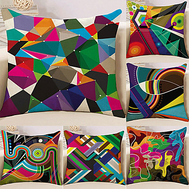 cheap Pillow Covers-Cushion Cover 6PCS Linen Soft Decorative Square Throw Pillow Cover Cushion Case Pillowcase for Sofa Bedroom 45 x 45 cm (18 x 18 Inch) Superior Quality Mashine Washable Colorful Geometry Pattern
