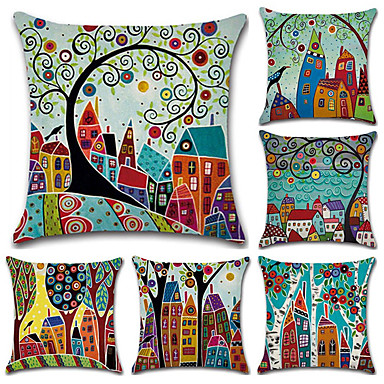 cheap Decorative Pillows-Cushion Cover 6PCS Linen Soft Decorative Square Throw Pillow Cover Cushion Case Pillowcase for Sofa Bedroom 45 x 45 cm (18 x 18 Inch) Superior Quality Mashine Washable Colorful Houses Pattern