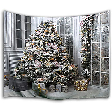 cheap Wall Tapestries-Christmas Santa Claus Holiday Party Wall Tapestry Art Decor Blanket Curtain Picnic Tablecloth Hanging Home Bedroom Living Room Dorm Decoration Christmas Tree Gift Polyester Views