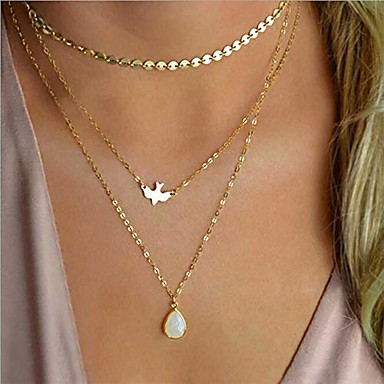 Ronglai Jewelry Dainty Layered Choker Necklace Handmade 14K Gold Plated Y Pendant Necklace Multilayer Bar Disc Necklace Adjustable Layering Choker Necklaces for Women