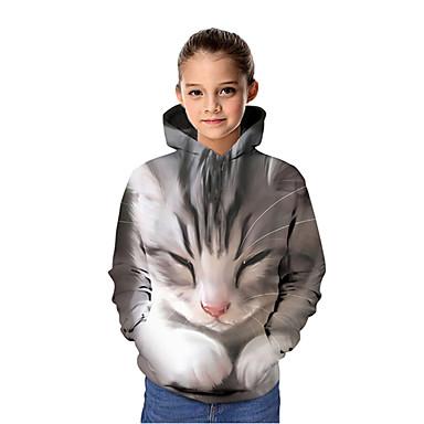 cheap Girls' Clothing-Kids Girls' Active Cat 3D Graphic Animal Print Long Sleeve Hoodie & Sweatshirt Gray