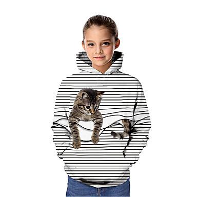 cheap Girls' Clothing-Kids Girls' Active Cat 3D Graphic Animal Print Long Sleeve Hoodie & Sweatshirt White