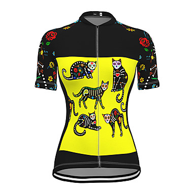 cheap Cycling Jerseys-21Grams Women's Short Sleeve Cycling Jersey Spandex Yellow Cat Bike Top Mountain Bike MTB Road Bike Cycling Breathable Sports Clothing Apparel / Stretchy / Athleisure