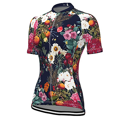 cheap Cycling Jerseys-21Grams Women's Short Sleeve Cycling Jersey Spandex Black Floral Botanical Bike Top Mountain Bike MTB Road Bike Cycling Breathable Sports Clothing Apparel / Stretchy / Athleisure