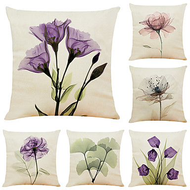 cheap Cushion Covers-6 pcs Linen Pillow Cover, Floral&Plants Simple Modern Square Zipper Traditional Classic