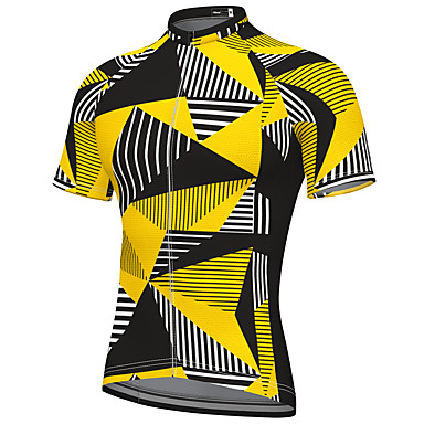 cheap Cycling Jerseys-21Grams Men's Short Sleeve Cycling Jersey Spandex Yellow Stripes Bike Top Mountain Bike MTB Road Bike Cycling Breathable Quick Dry Sports Clothing Apparel / Athleisure