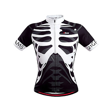cheap Cycling Jerseys-21Grams Men's Short Sleeve Cycling Jersey Black+White Skeleton Bike Jersey Top Mountain Bike MTB Road Bike Cycling Quick Dry Breathable Sports Clothing Apparel / Stretchy / Advanced