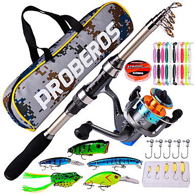 Portable Muti Fishing Lure Line Spools Rod Reels with Fishing Tackle Box