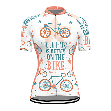 cheap Cycling Jerseys-21Grams Women's Short Sleeve Cycling Jersey Spandex White Bike Top Mountain Bike MTB Road Bike Cycling Breathable Sports Clothing Apparel / Stretchy / Athleisure