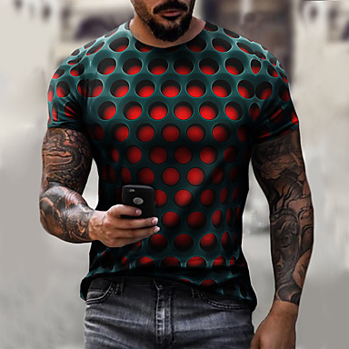 Men's Graphic optical illusion Plus Size T-shirt Short Sleeve Daily Tops Streetwear Exaggerated Round Neck White Purple Red / Summer