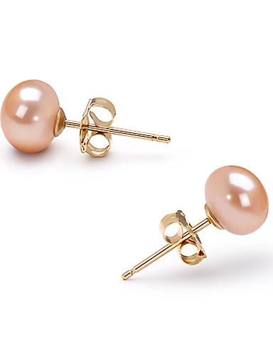 preiswerte Schmuck Ausverkauf-Rosa Perlen Ohrstecker Geburtssteine Gold Ohrringe Schmuck Für