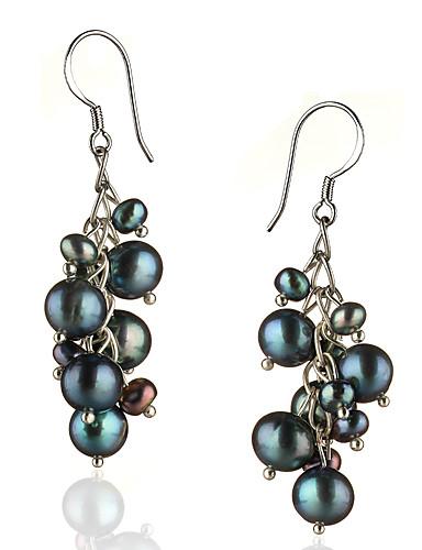 preiswerte Schmuck Ausverkauf-Damen Schwarz Perlen Tropfen-Ohrringe Sterling Silber Silber Ohrringe Schmuck Für 1pc