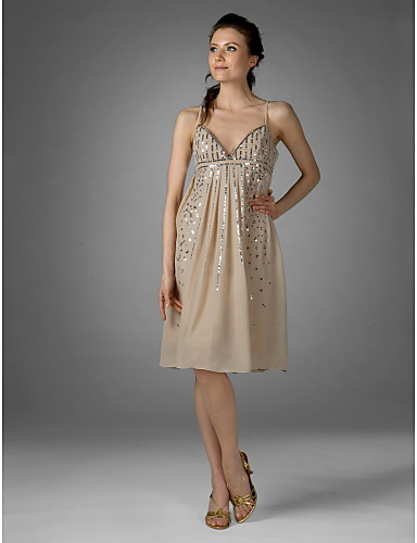 b27a22a4df Sheath   Column V Neck Spaghetti Straps Knee Length Chiffon Cocktail Party  Dress with Sequin Draping by TS Couture® 66891 2019 –  79.99