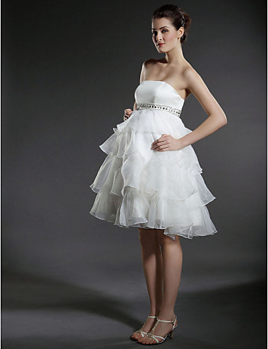 7b653b64d4a4 αυτοκρατορία μπάλα φόρεμα στράπλες γόνατο-μήκους οργάντζα κλιμακωτή νυφικό  μητρότητας 54261 2019 –  129.99