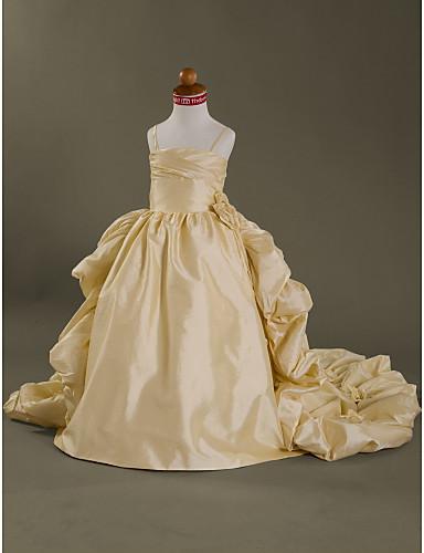 Ball Gown Court Train Flower Girl Dress - Taffeta Sleeveless Spaghetti Strap Flower / Pleats LAN TING BRIDE® / Spring / Summer / Fall / Winter / Wedding Party