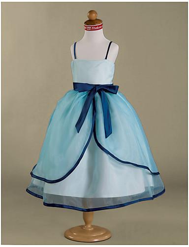 Ball Gown Tea Length Flower Girl Dress - Organza / Satin Sleeveless Spaghetti Strap Bow(s) / Sash / Ribbon / Ruffles LAN TING BRIDE® / Spring / Summer / Fall / Winter / Wedding Party