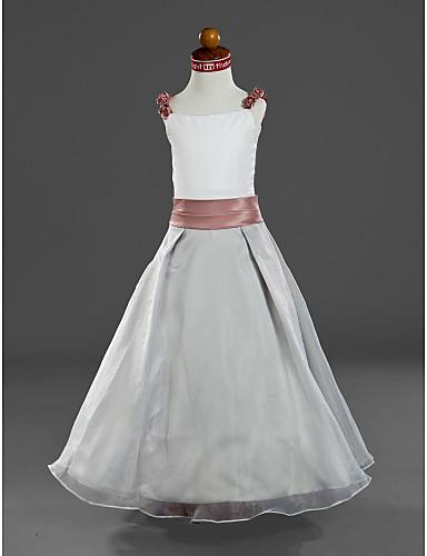 b6266d7f766 A-line λουριά αστραγάλων μήκους σατέν οργάντζα φόρεμα κορίτσι λουλουδιών  27527 2019 – $79.99