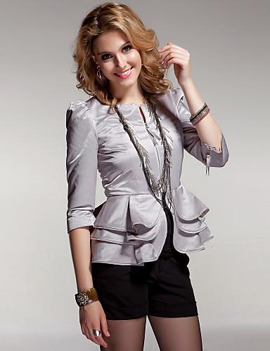 de22c8a502 mangas hem babados em camadas de três quartos blazer decote redondo zíper    mulheres blazers (ff-a-bi0853101) de 143555 2019 por  35.99