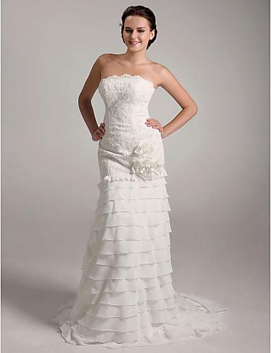 c35da210 kappe / kolonne stropløs domstol tog satin chiffon differentieret brudekjole  med blomster 142461 2019 – $249.99