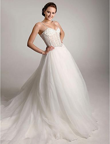 0975da8b0864 bolden kjole spaghetti-stropper domstol tog organza brudekjole 142458 2019  –  349.99
