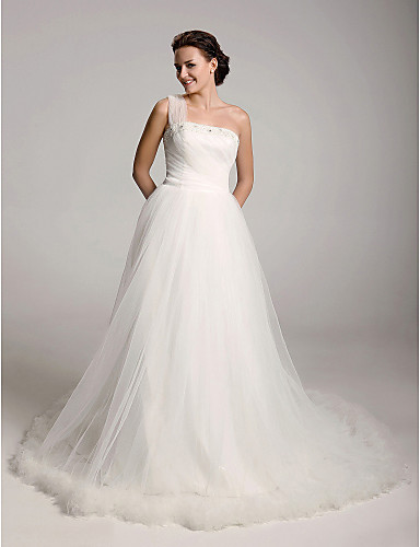 cheap Wedding Dresses-Princess Ball Gown A-Line Wedding Dresses One Shoulder Court Train Satin Tulle Sleeveless with 2020