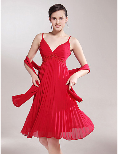 f4fa444c1f A-Line V Neck Spaghetti Straps Knee Length Chiffon Mother of the Bride Dress  617 Beading Appliques Pleats by 49631 2019 –  40.00