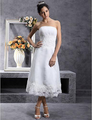 0c70885febb33 A-Şekilli Straplez Diz Altı Organze Dantel ile Kıyafetli Gelinlikler  tarafından LAN TING BRIDE® / Küçük Beyaz Elbiseler 34796 2019 – $149.99