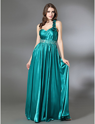 cheap Special Occasion Dresses-Sheath / Column Prom Formal Evening Military Ball Dress One Shoulder Sweetheart Neckline Sleeveless Floor Length Charmeuse with Pleats Beading Ruffles 2020