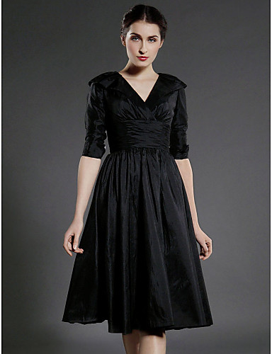 f546bb49e419 A-Line V Neck Knee Length Taffeta Mother of the Bride Dress with Draping /  Ruched / Pleats by 51969 2019 – $69.99